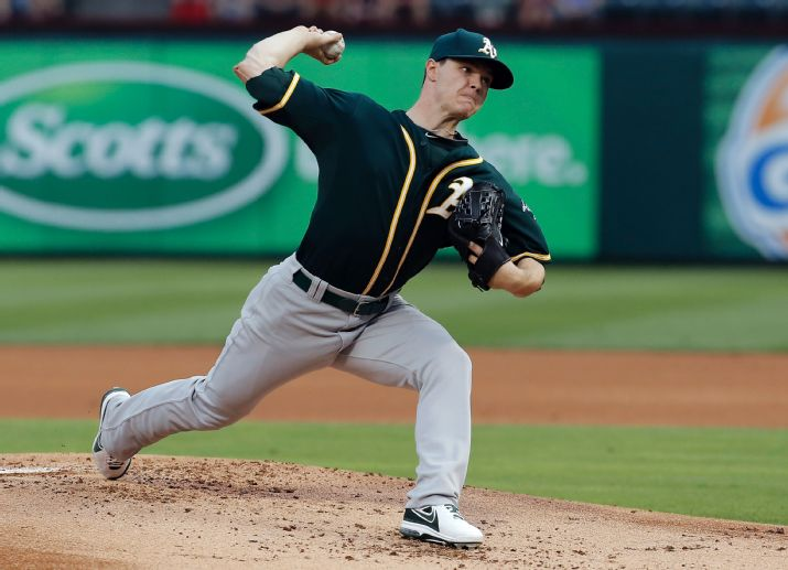 Oakland Athletics starting pitcher Sonny Gray (54) throws during the first inning of a baseball game against the Texas Rangers, Monday, April 28, 2014, in Arlington, Texas. (AP Photo/Brandon Wade)