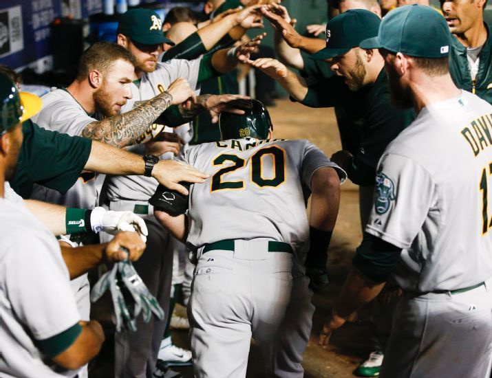 Oakland Athletics' Mark Canha (20) is congratulated by teammates in the dugout following his solo home run against the Texas Rangers during the eighth inning of a baseball game, Friday, May 1, 2015, in Arlington, Texas. The Athletics won 7-5. (AP Photo/Jim Cowsert)
