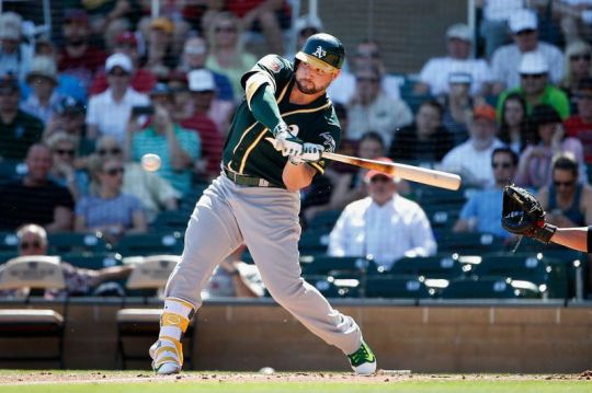 Yonder Alonso at the plate for Oakland photo: Lincoln Journal Star.com